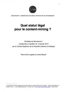 Synthèse de la position de Savoirscom1 rédigée par Pierre-Carl Langlais et Lionel Maurel (CC0)