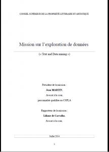CSPLA - Mission sur l'exploration de données