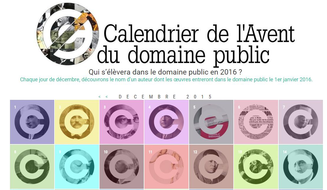 Lancement du Calendrier de l'Avent du Domaine Public 2016 !